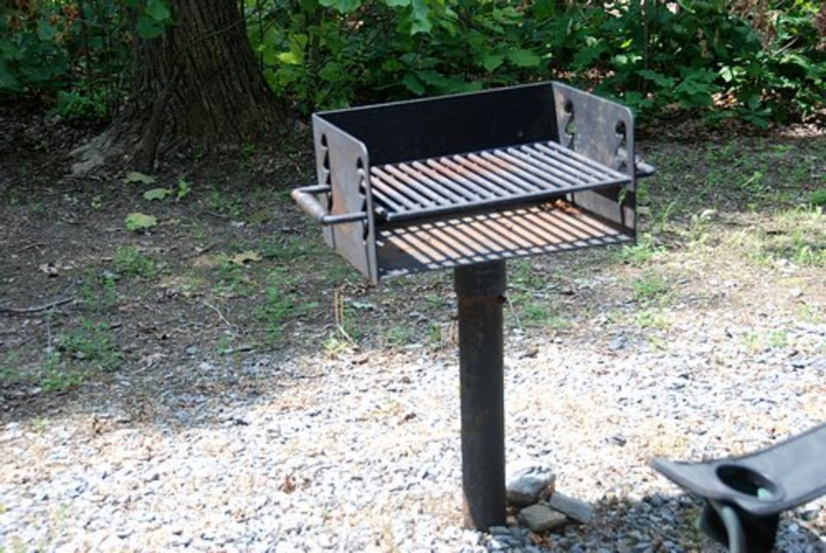 Many campsites come with a grill for the convenience of campers.