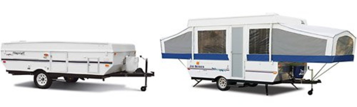 Pop-up camper open and closed