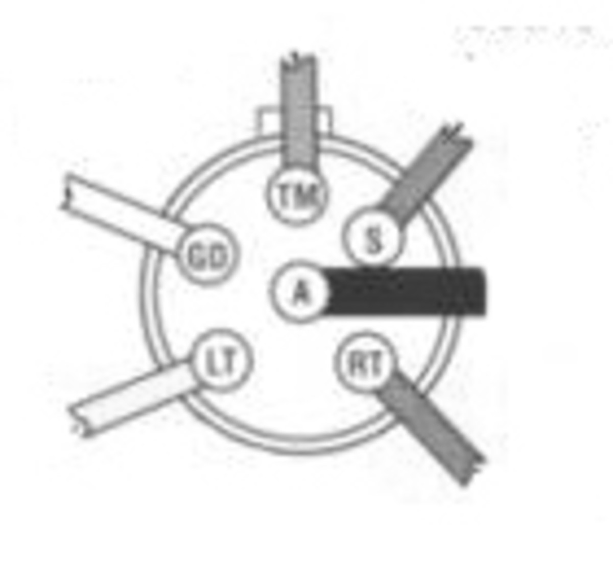 Diagram of wiring point definitions for a standard 6-pin connector