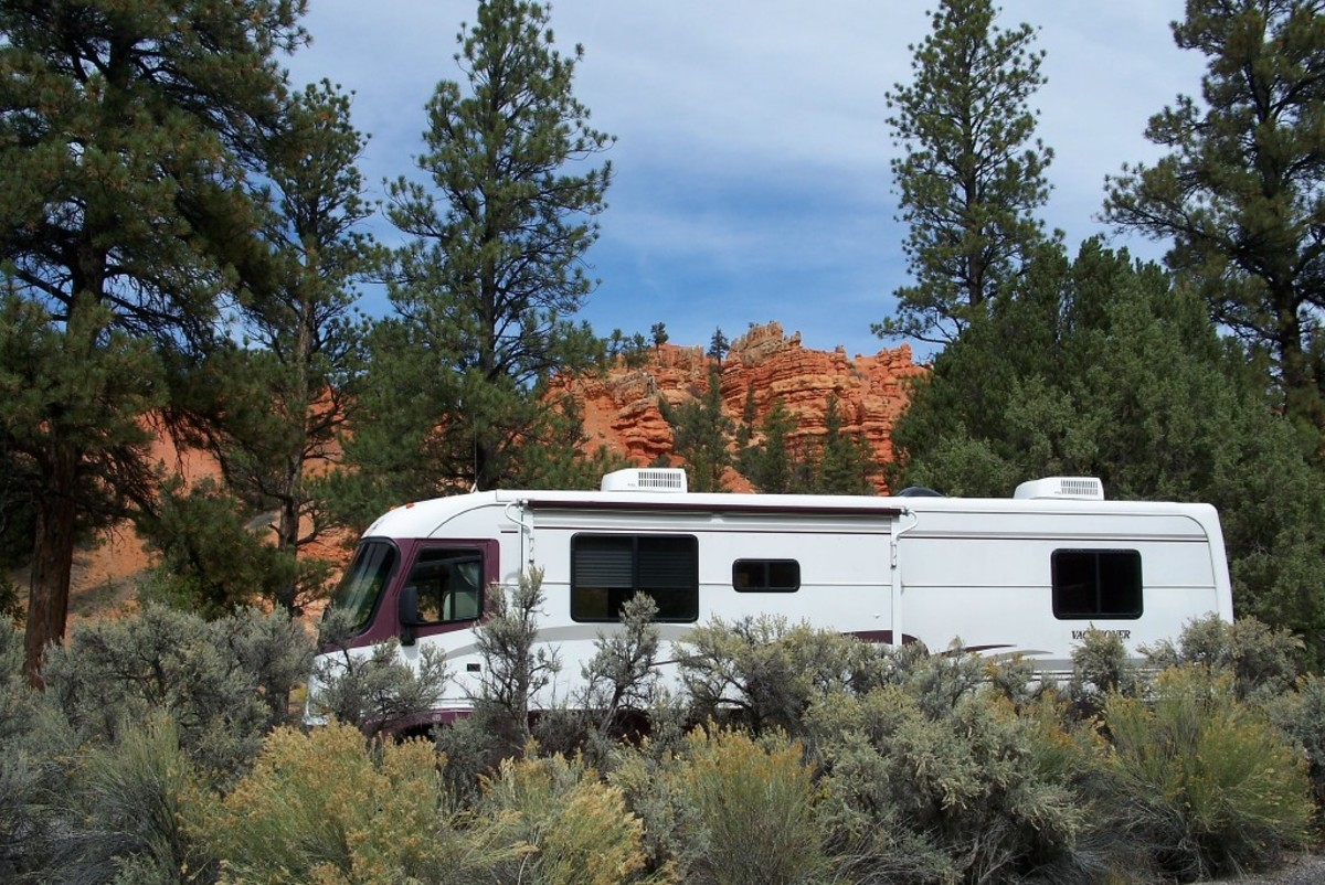 Campsite at Dixie National Forest, Red Canyon Campground. $6 a night.  Campground is near Bryce Canyon National Park.