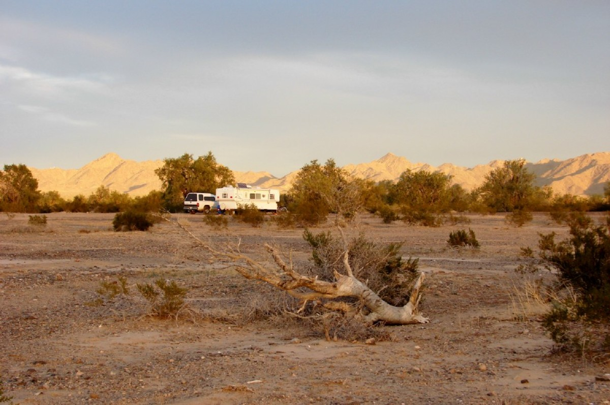 Camper at LaPosa BLM Long Term Visitor Area near Quartzite Arizona.  $40 for 2 weeks.