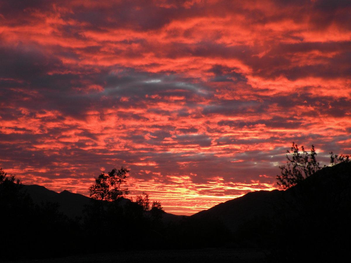 Desert sunset view from camp at La Posa LTVA.  Quartzsite, Arizona.