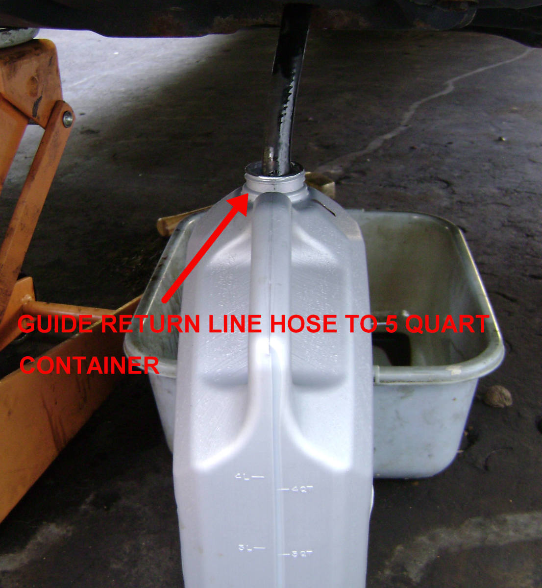 Put the end of the hose into an empty container.
