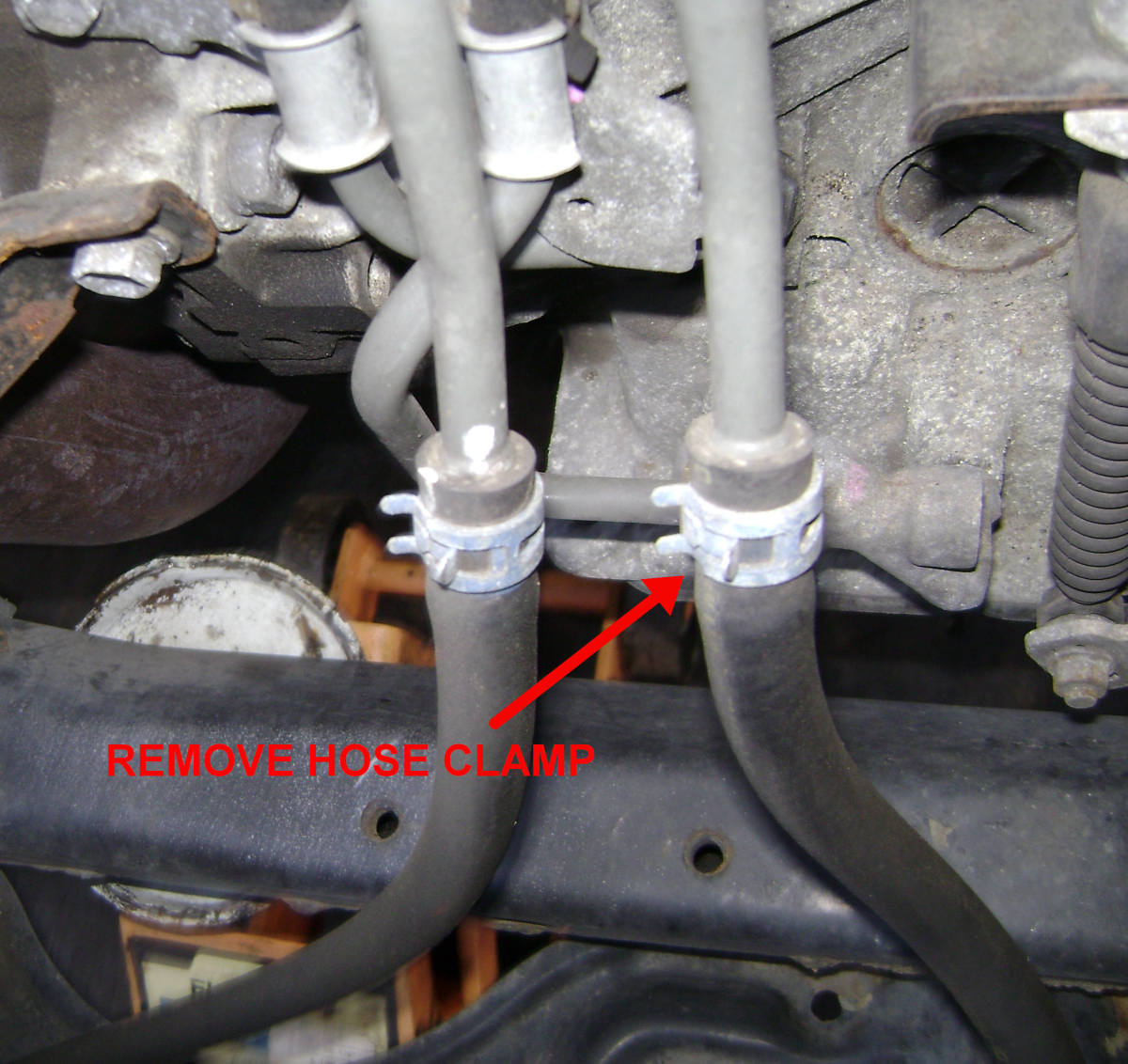 Remove the hose clamp on the ATF return line to the Camry transmission
