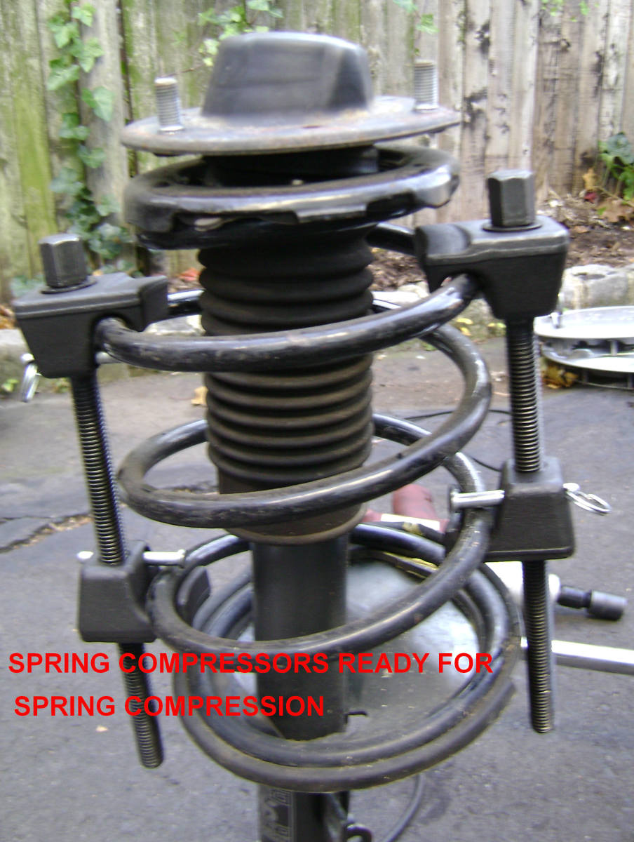 Mounting the spring compressors