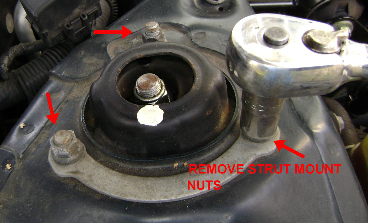 Removing the strut mount nuts