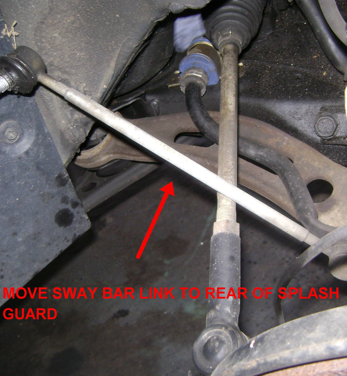 Position the sway bar link away from the strut assembly