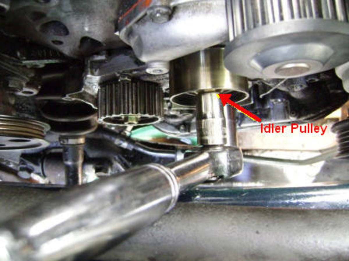 BB.  Removing the timing belt idler guide pulley