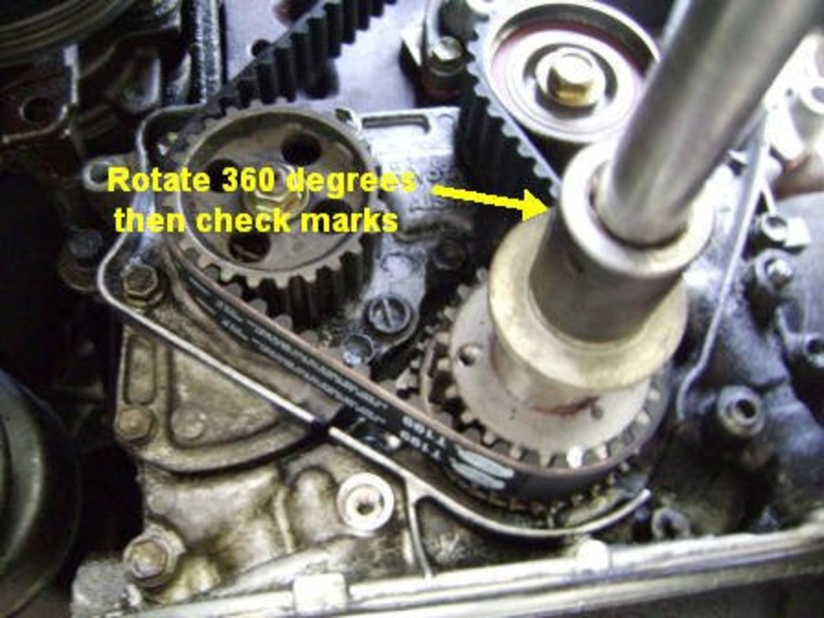 DD:  Rotate the crankshaft with the new timing belt