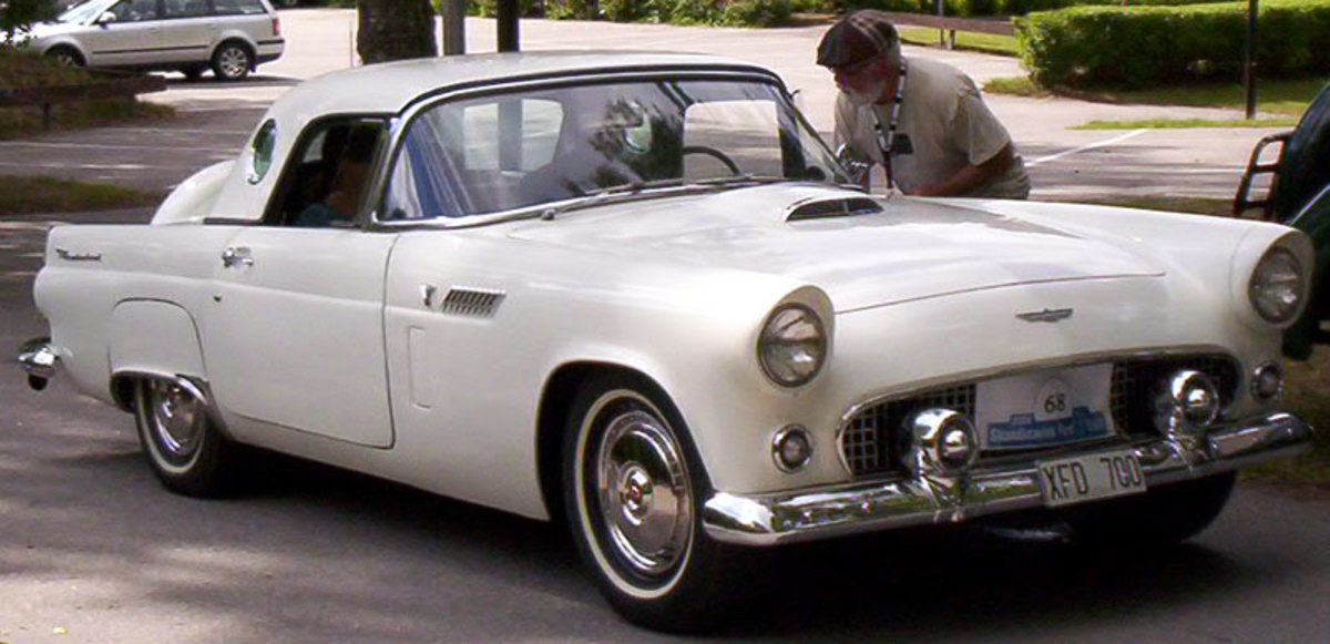 Ford's response to the Corvette was the T-bird, a flashy, cut-down version of a full size Ford, with an eye toward being stylish rather than speedy. It was designed to outsell the 'Vette, rather than outrace it ... and it did just that. ('56 shown)