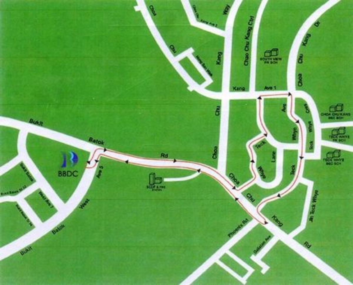 Map of BBDC test route 1