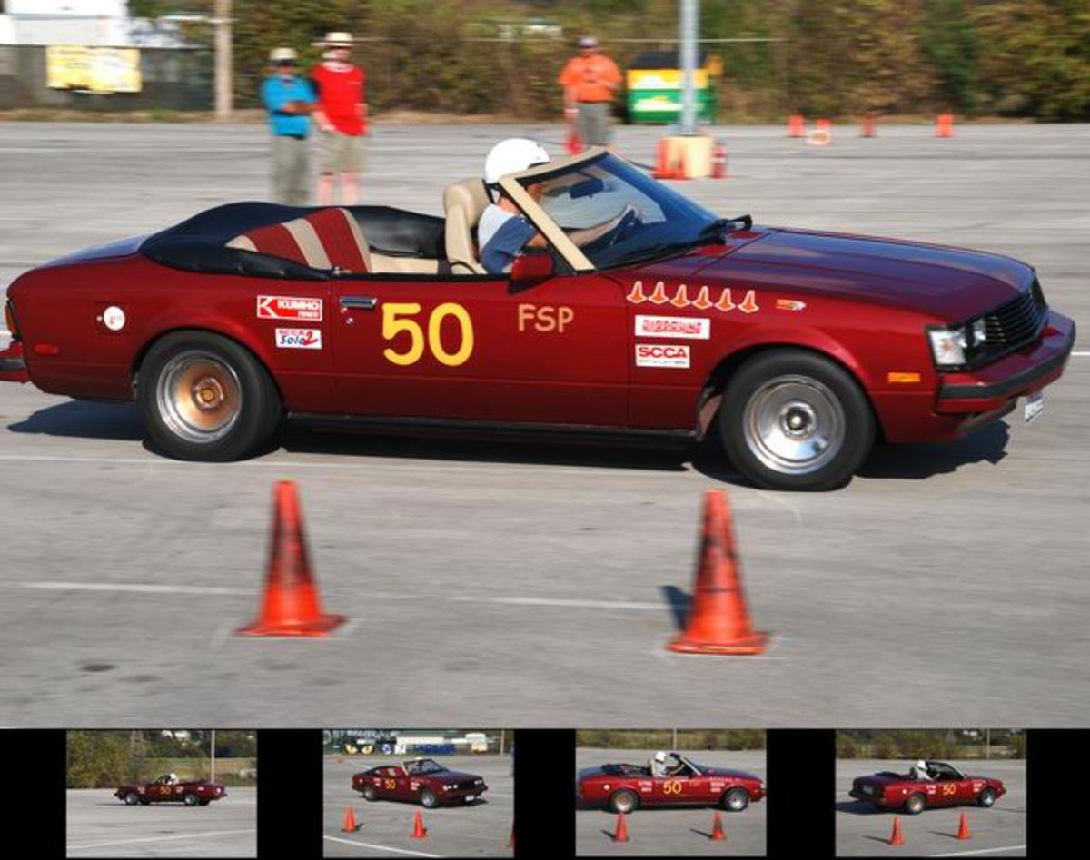 Author autocrossing at Texas Motor Speedway in his 1981 Toyota Celica convertible.
