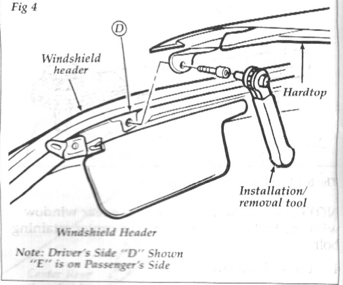 Header bolt location behind sunvisor