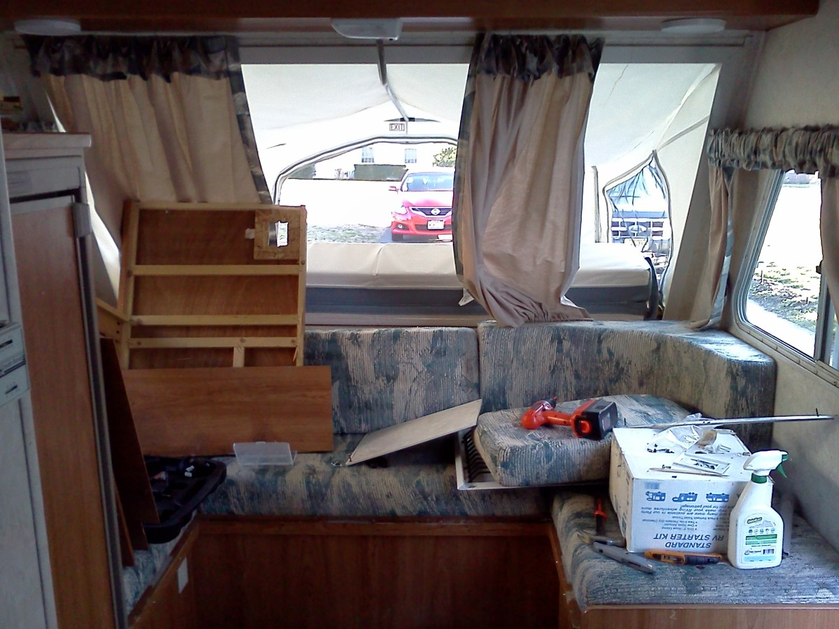 Looking towards front of camper: What a mess. I took before pictures so I know where everything goes when finished.