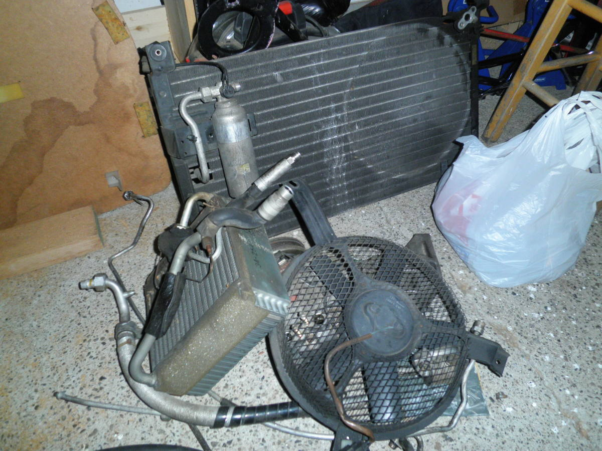 A/C related components.  AC matrix, radiator, radiator fan, AC pump.
