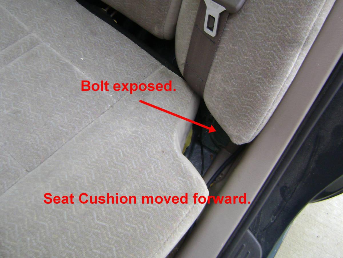 Rear side seatback bolt removal