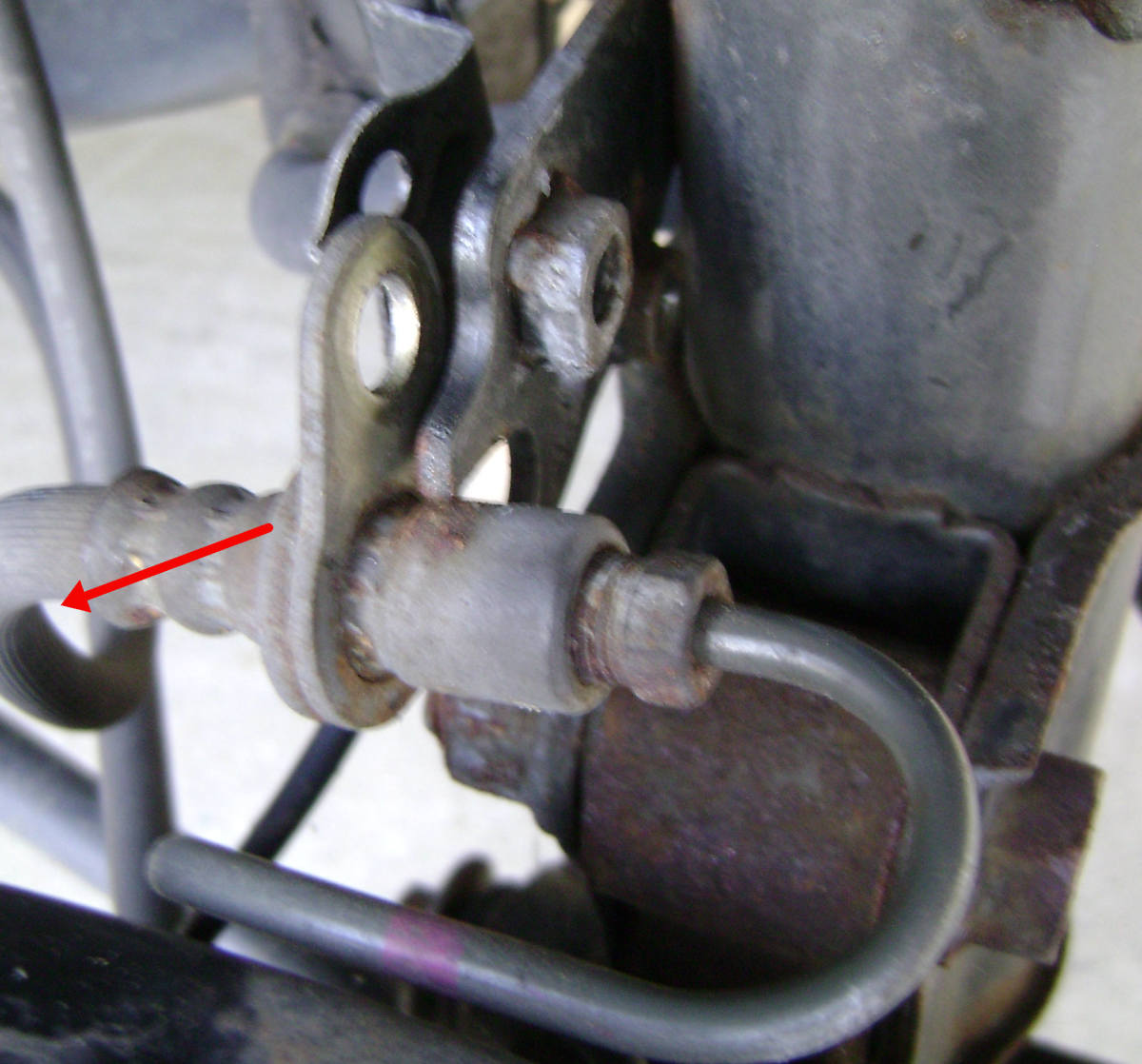 Carefully remove the brake line hose from the strut assembly