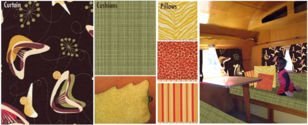 Vintage camper design fabrics, fixings, and finishes used for my first Shasta renovation.