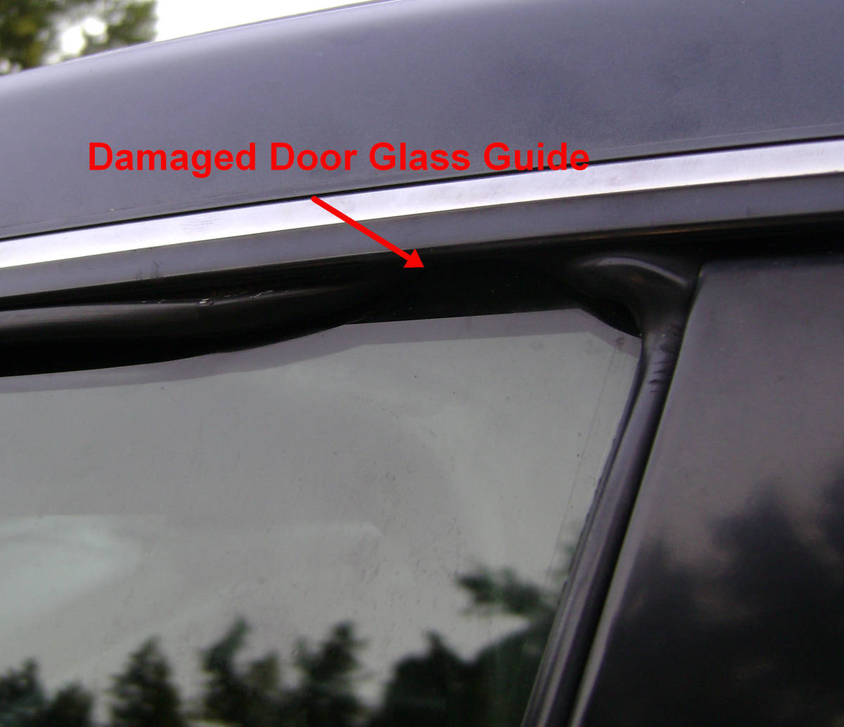 On this Camry the rubber door glass guide is damaged and needs replacing.