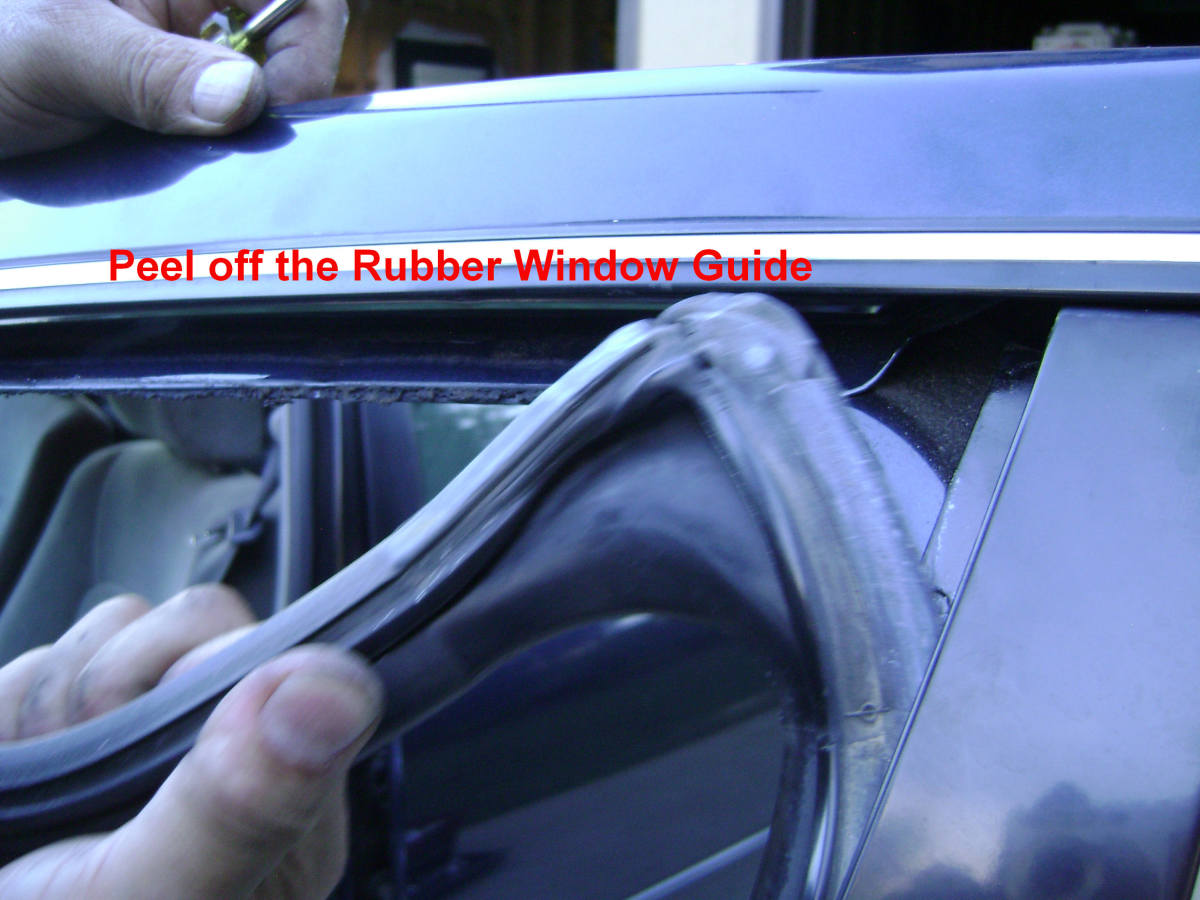 g(2). Peel off the rubber window guide