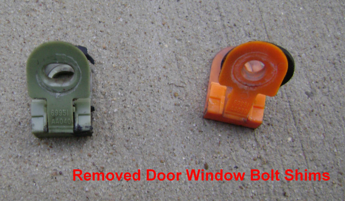 Removed Door Window Bolt Shims.