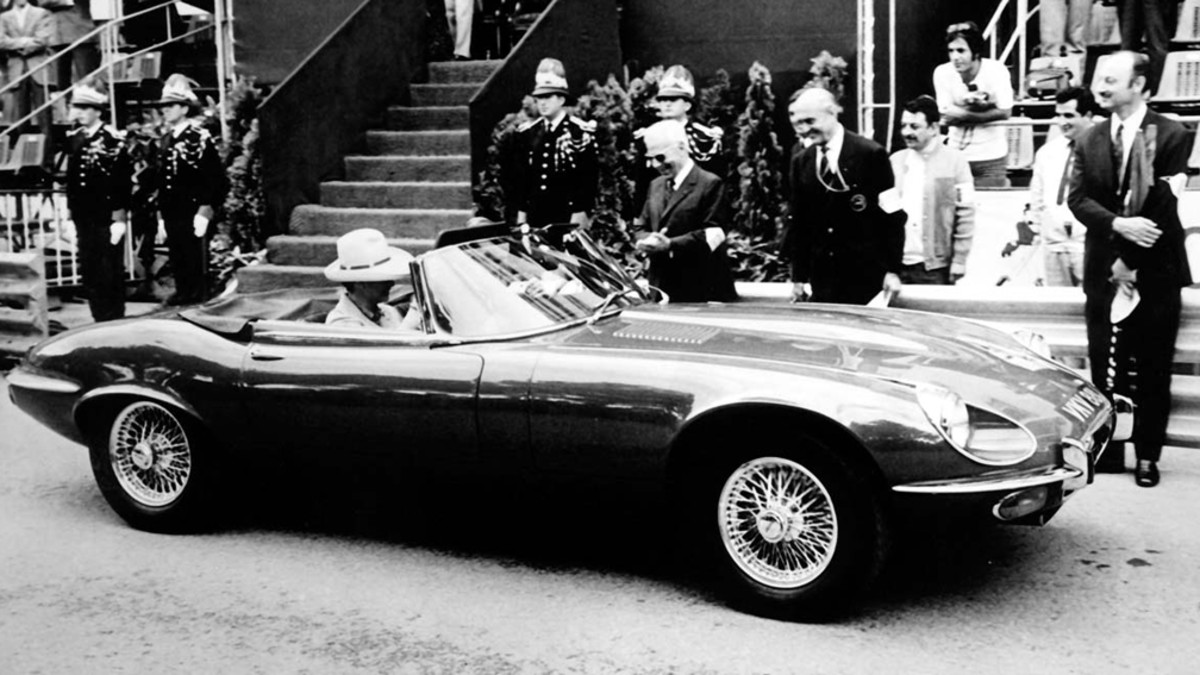 Princess Grace of Monaco in her Jaguar XKE