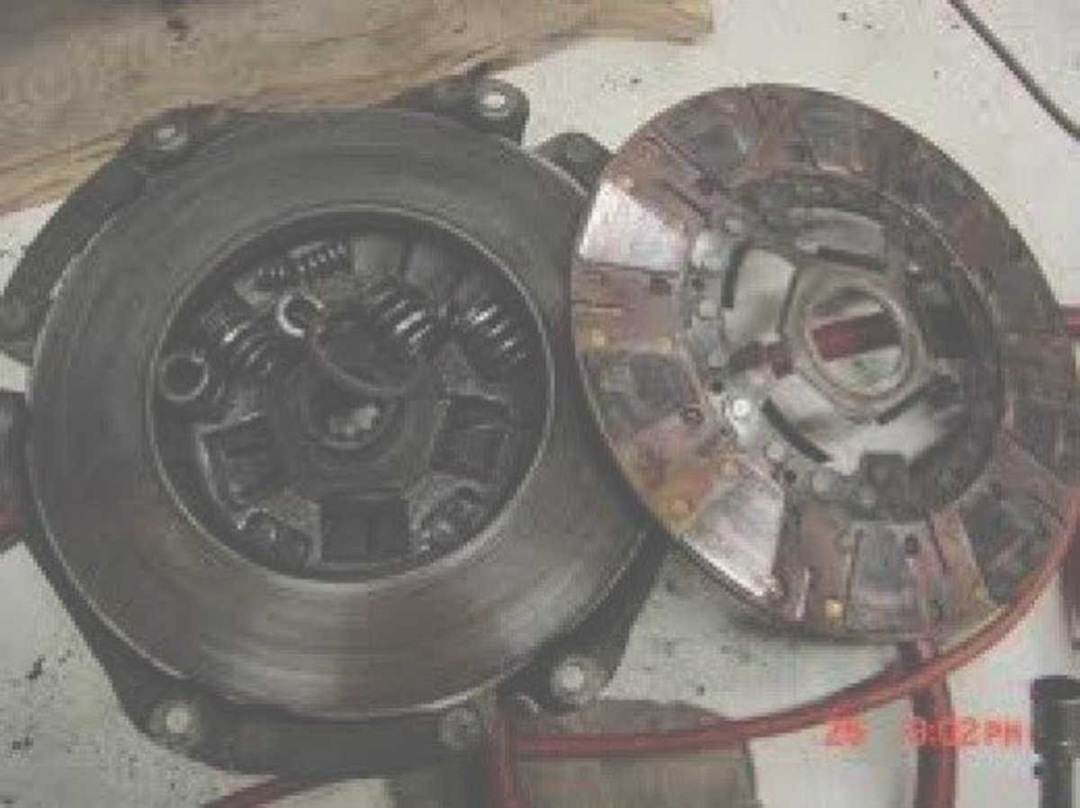 Clutch disc and pressure plate. The clutch looks like it blew apart. If you ride your clutch it may look like this.