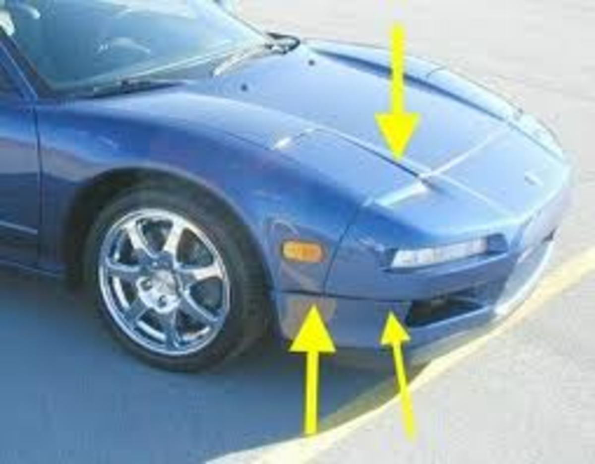 Uneven gaps where the body panels meet, definitive signs of a front end accident.