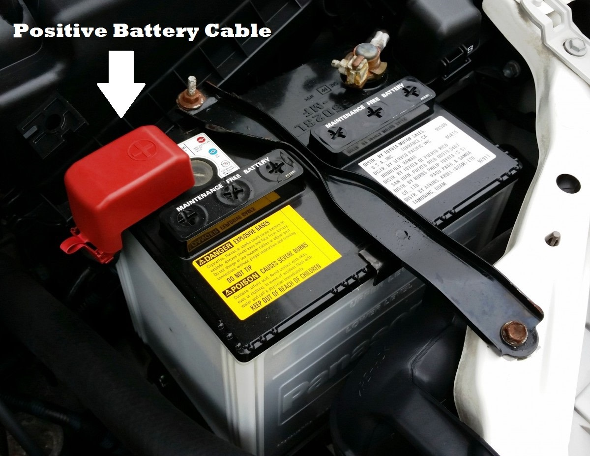 Remove the red rubber boot (if present), then loosen the battery cable clamp with a wrench. This will allow you to remove the positive battery cable.