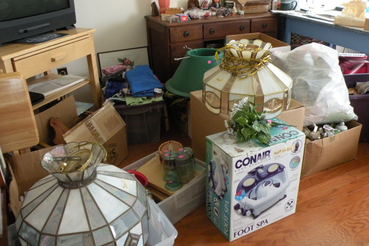 Sorting out household items to sell and donate.