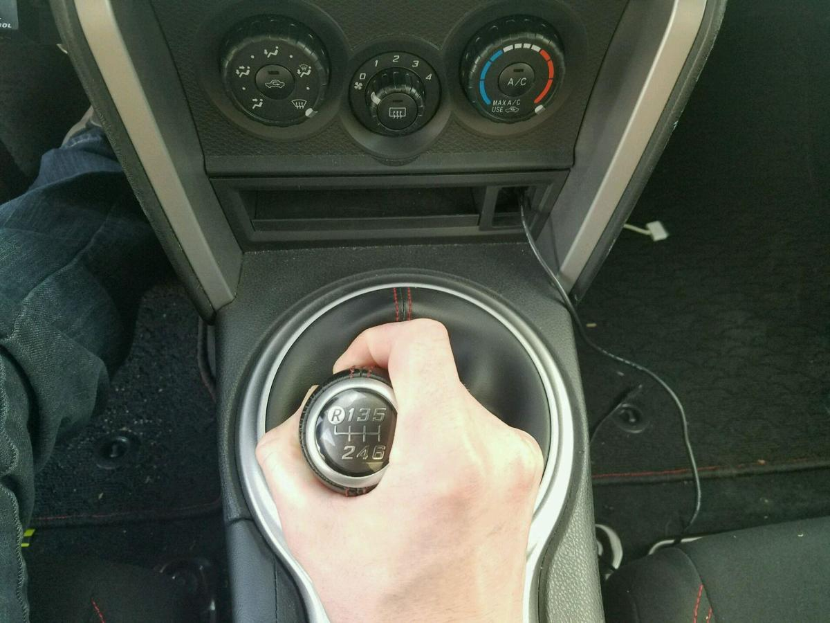 """To start the car you must be in neutral (the horizontal part of the """"H"""") and have the clutch pressed in all the way. To be sure you are in neutral, wiggle the stick back and forth."""