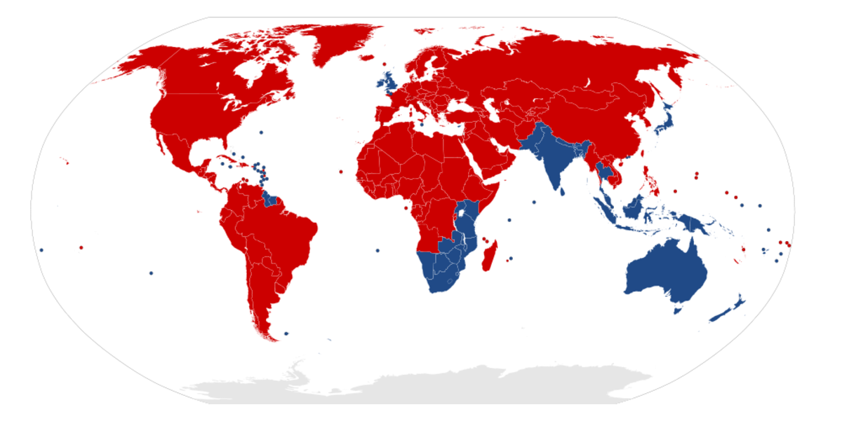 Red colour depicts the countries with right-hand traffic and Blue colour shows the countries with left-hand traffic