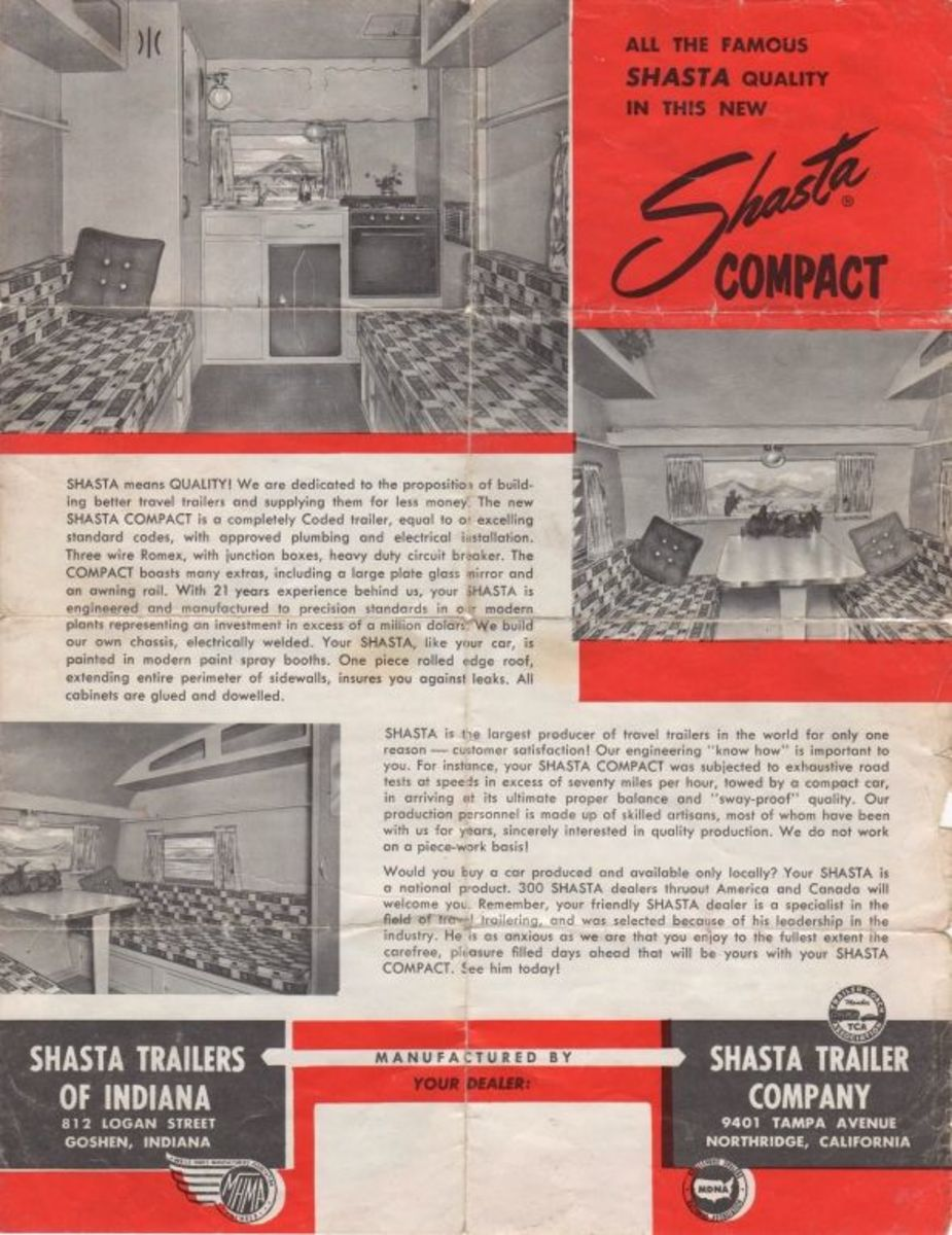 Original Shasta Compact Sales Flyer back. This original sales brochure shows the original interior and fabric - which is still in existence under the slipcovers in my compact - in iconic brown and orange.