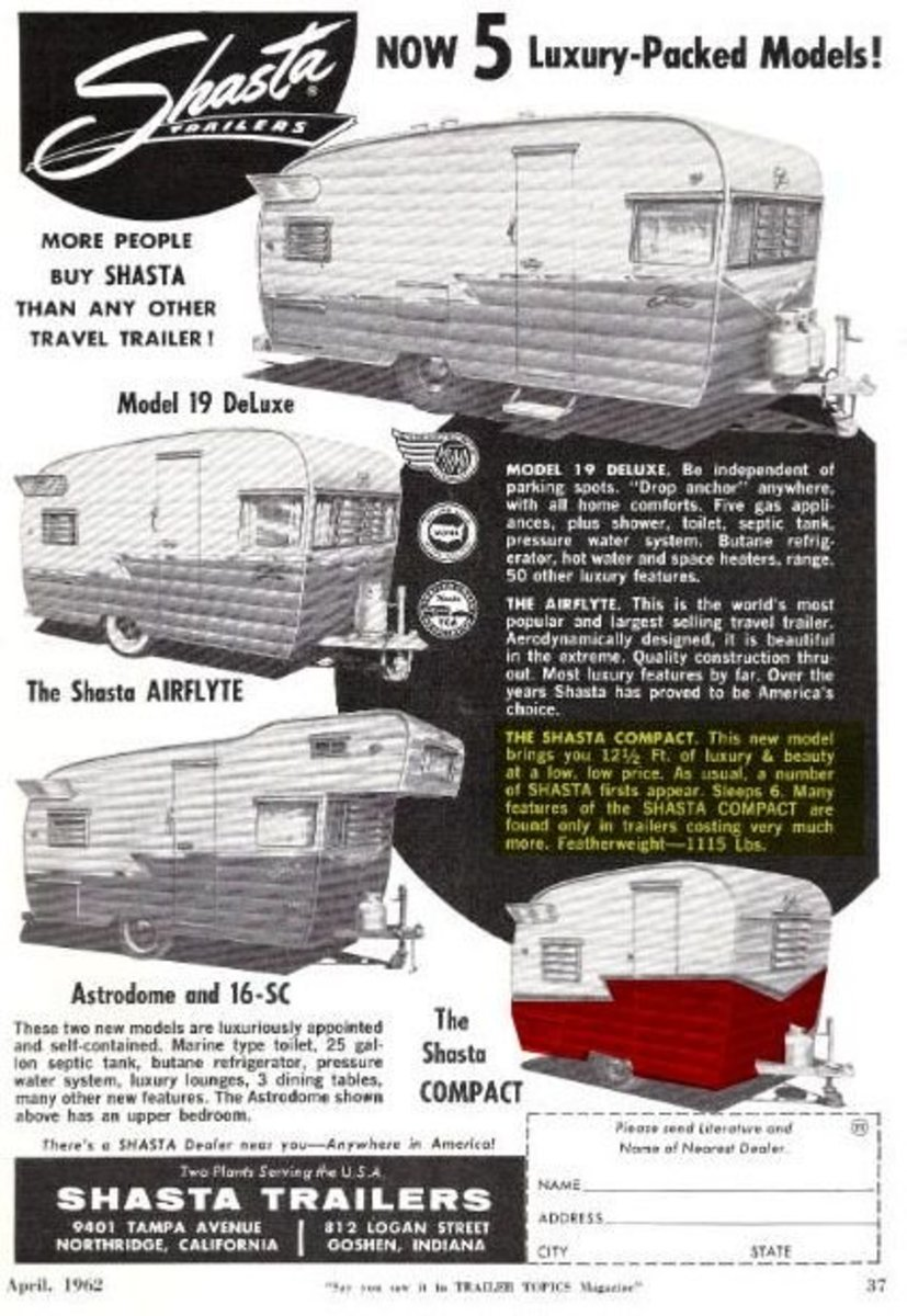 "Shasta Model Lineup. Here's a vintage Shasta advertisement of their lineup... because ""More people buy Shasta than any other Travel Trailer."" I've turned it into a number of different fun customizable Shasta gifts such as tshirts and posters for the"