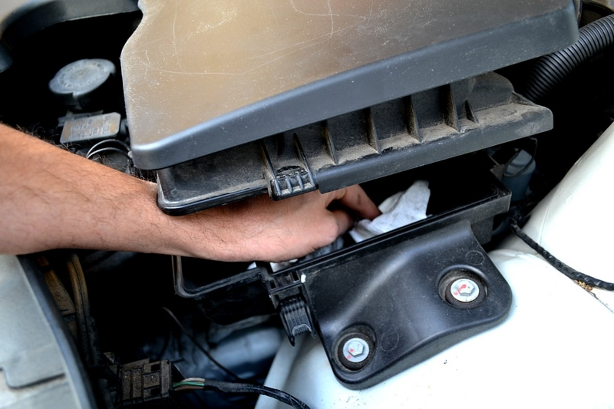 Wiping out the dirt in the air box before re-installing a new filter.