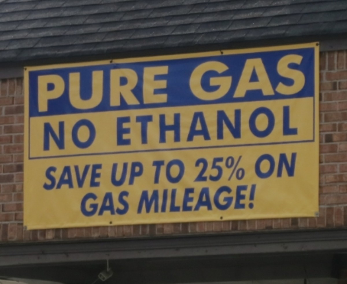A sign at a local gas station touts the supposed benefits of ethanol-free pure gas.