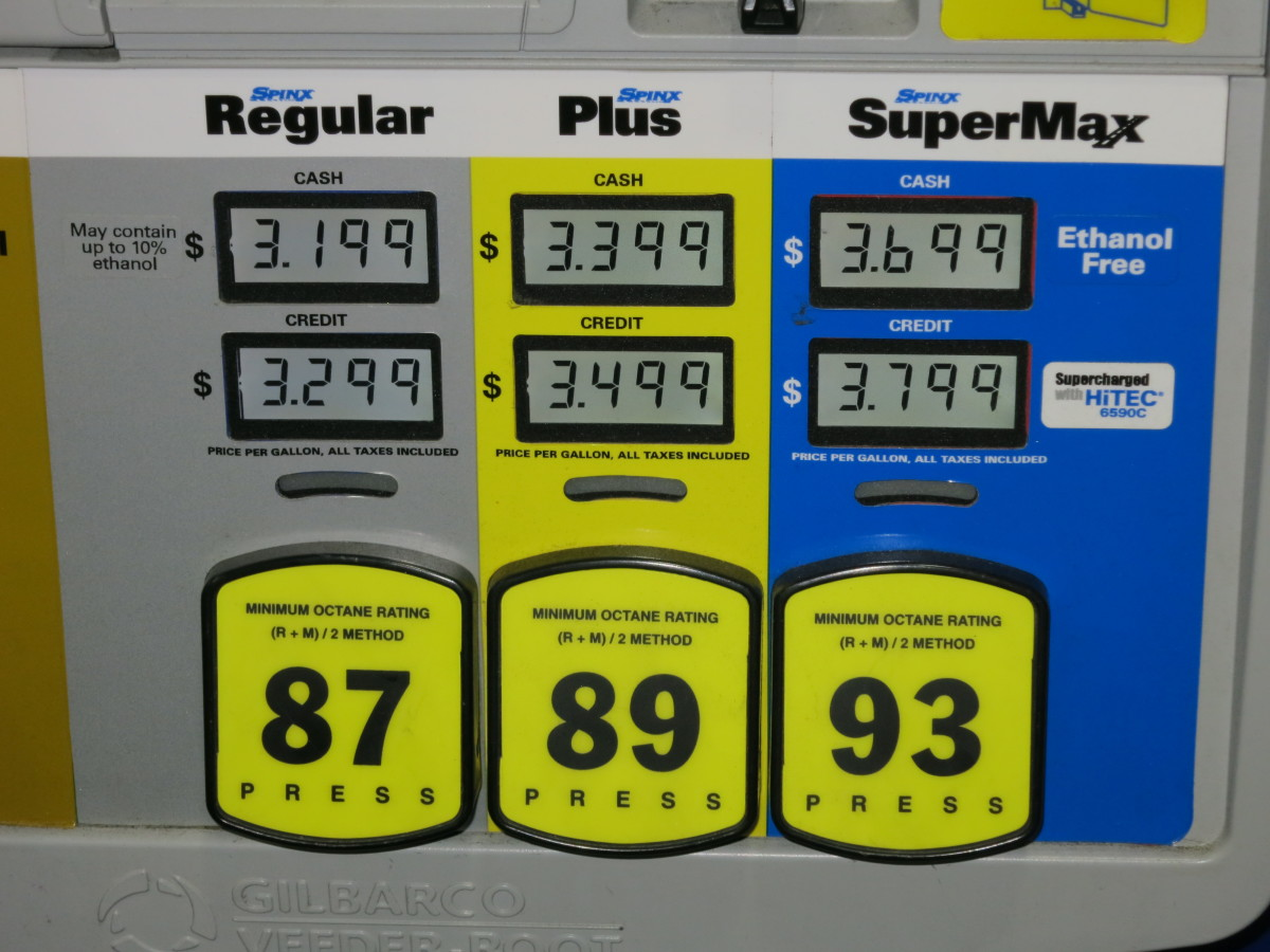 Prices for the ethanol treated varieties of gasoline.