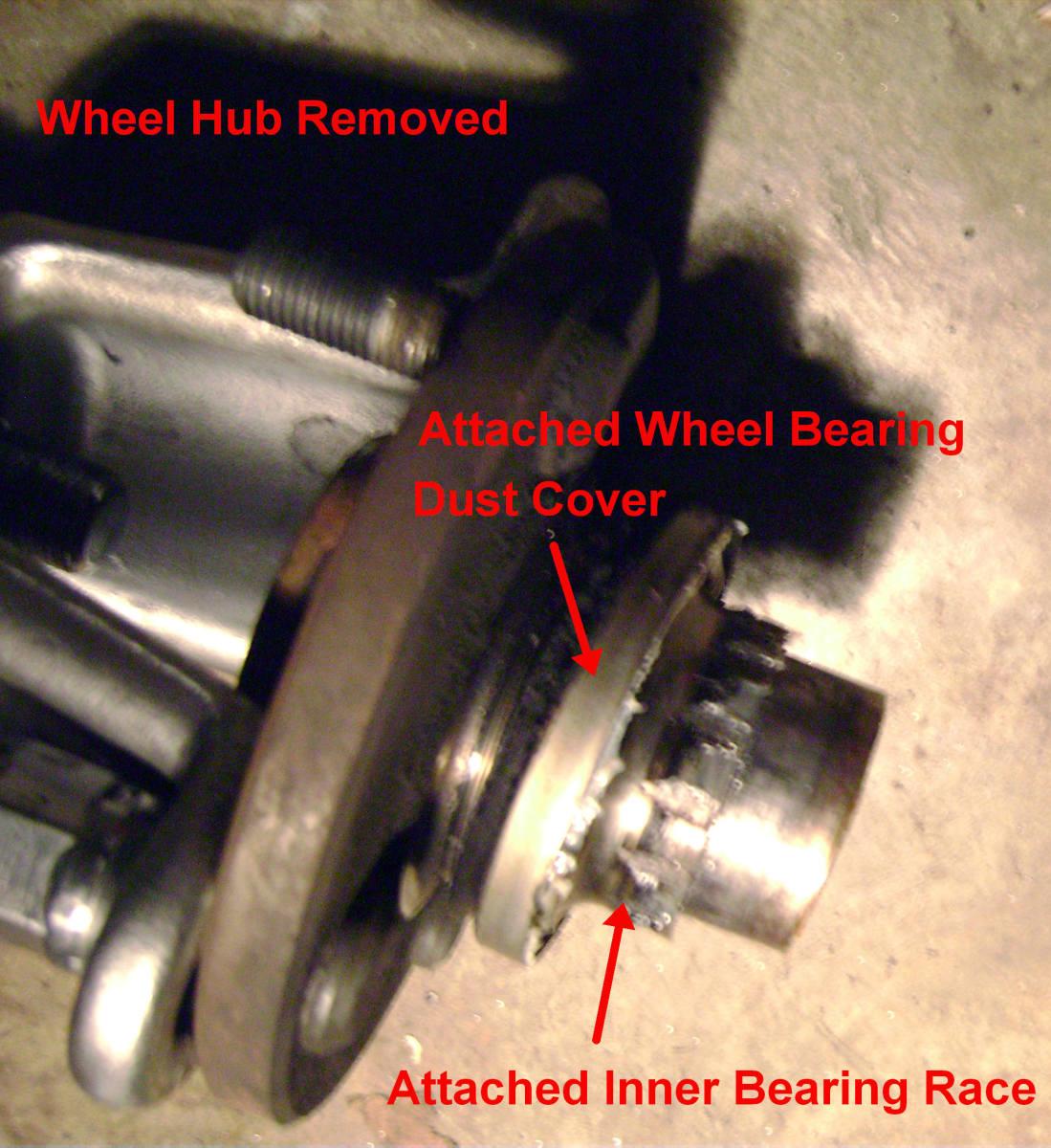 L.  Wheel hub removed