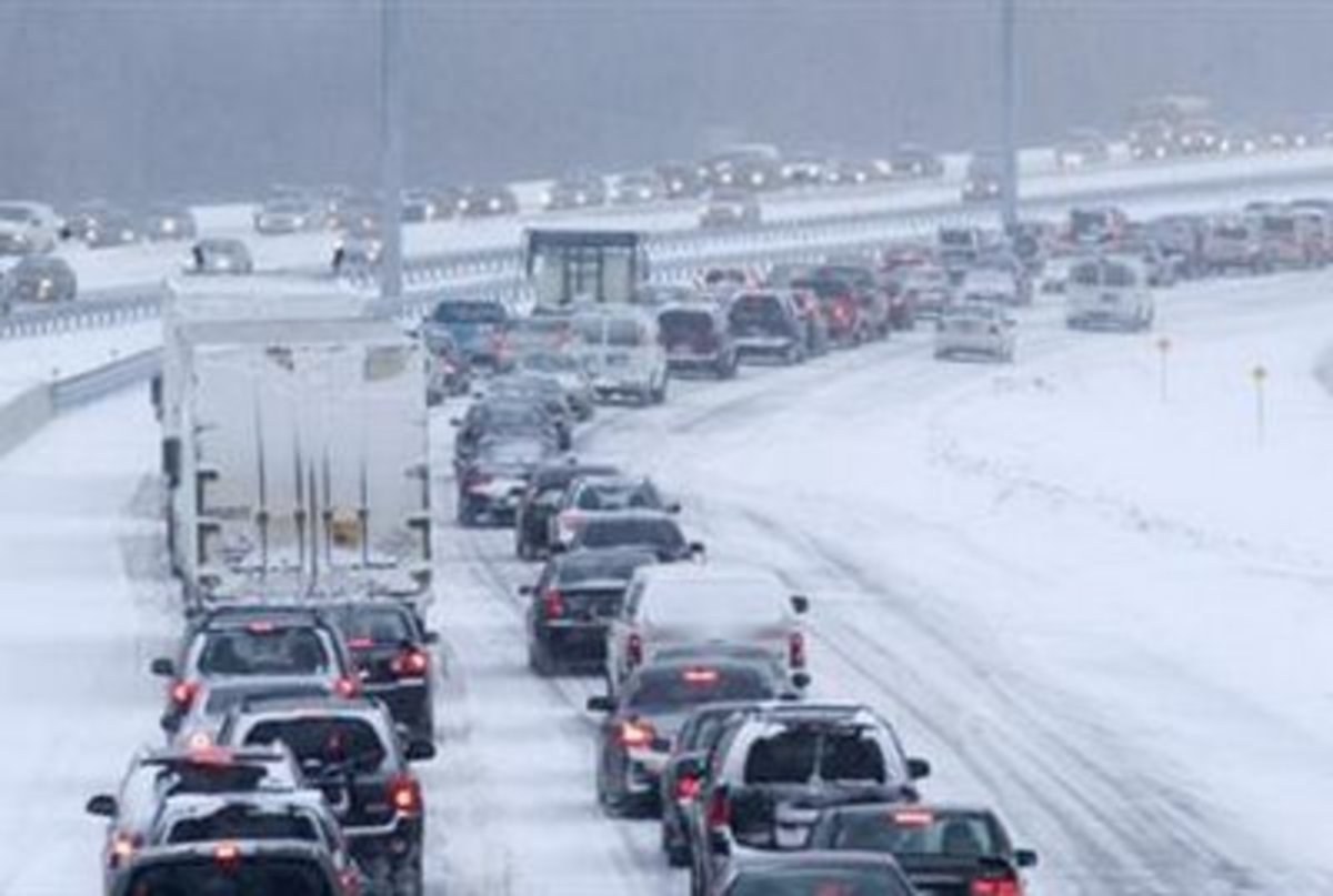 Winter driving can be a headache, especially when you are stuck in a traffic like this!