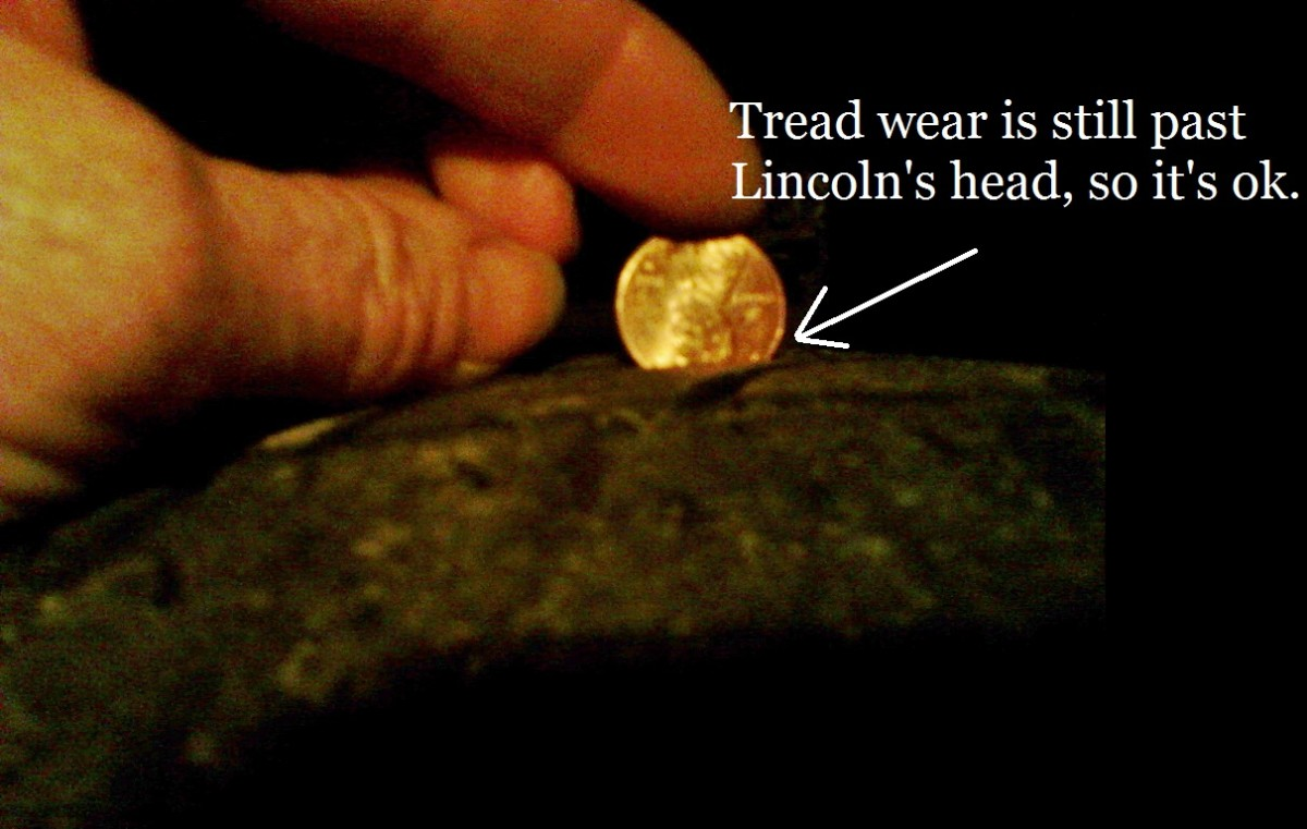 Check tread wear with a penny.