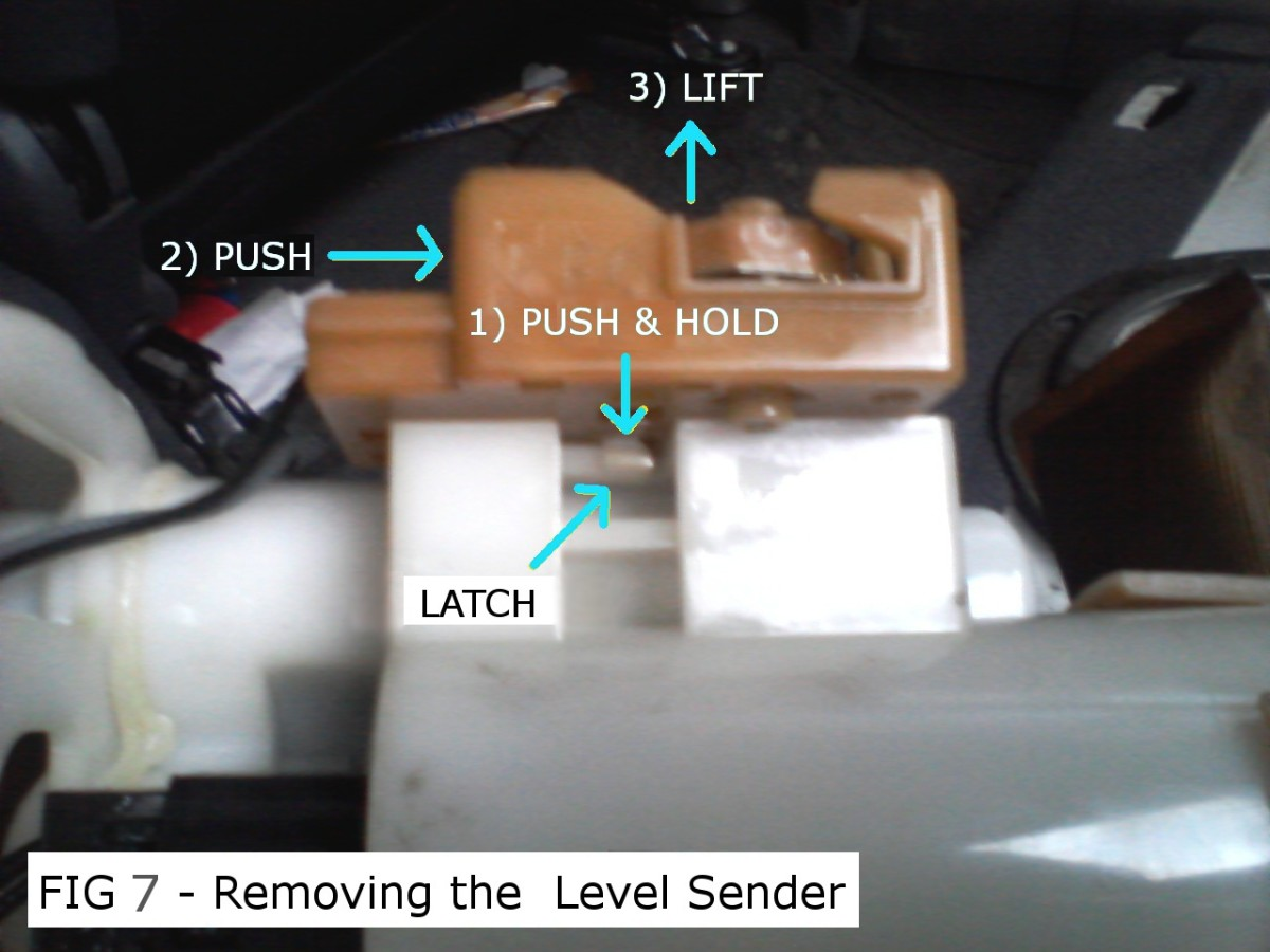 disassembly: removing the fuel level sender (fig 5, 6 & 7)