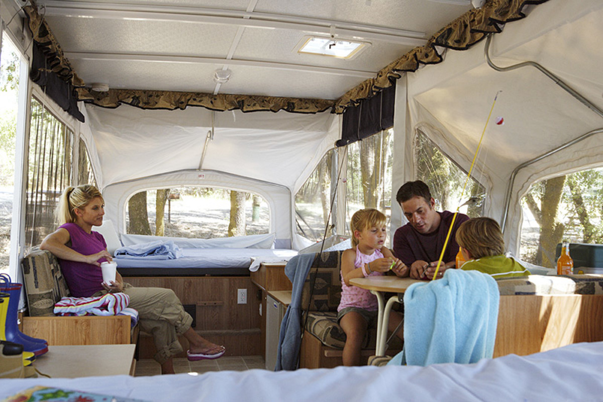 Fold-out campers are very spacious inside.