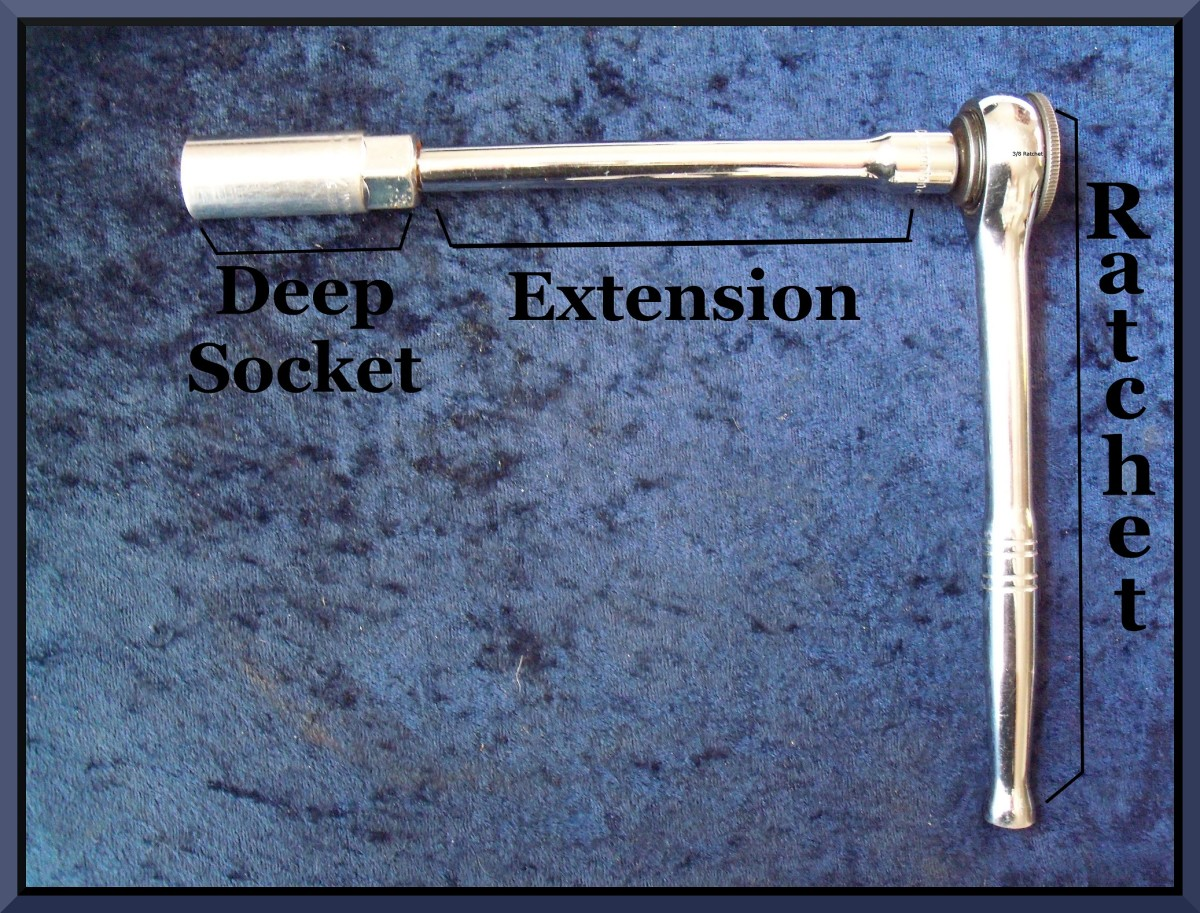 Socket wrench with extension.