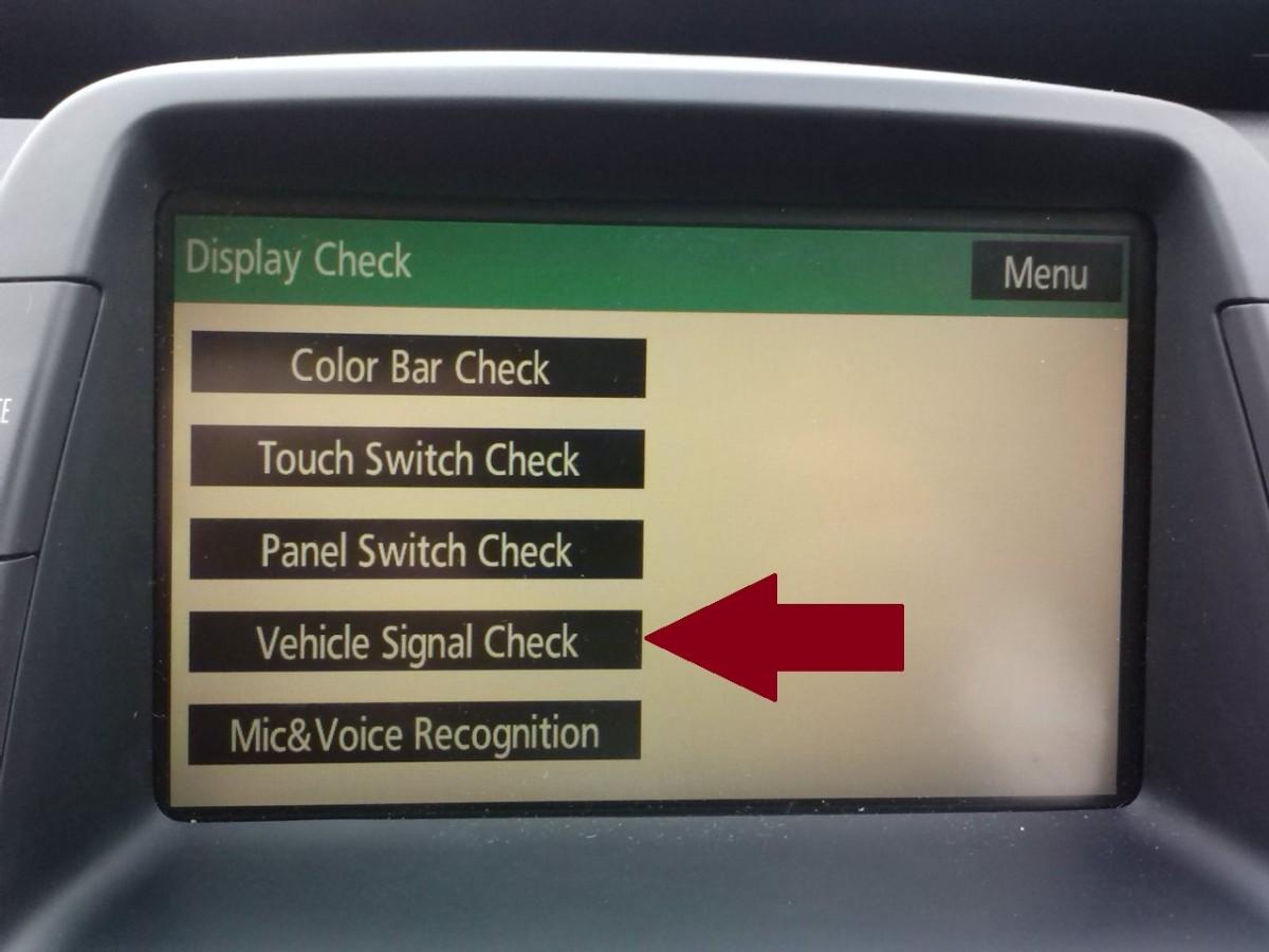 """Press """"Vehicle Signal Check"""""""