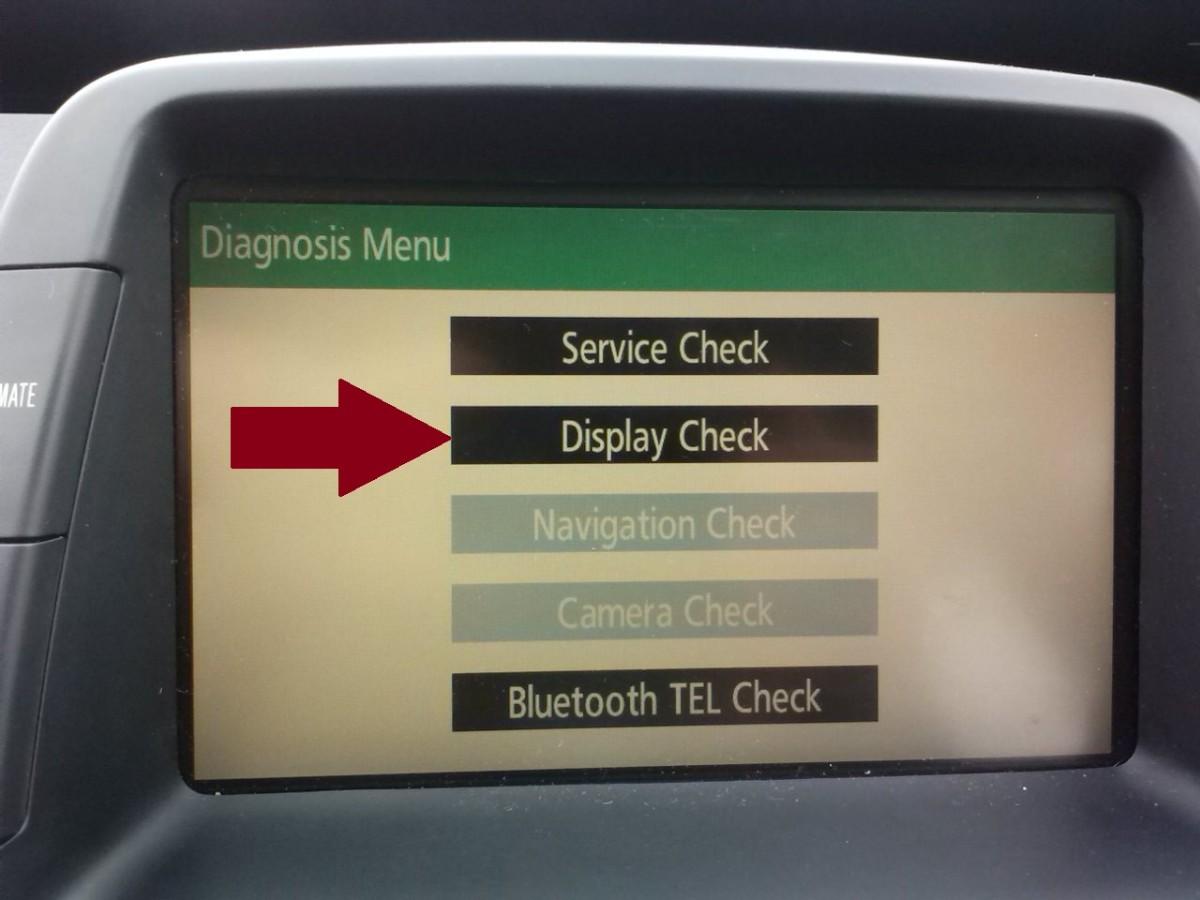 "Press ""Display Check"" (red arrow)."