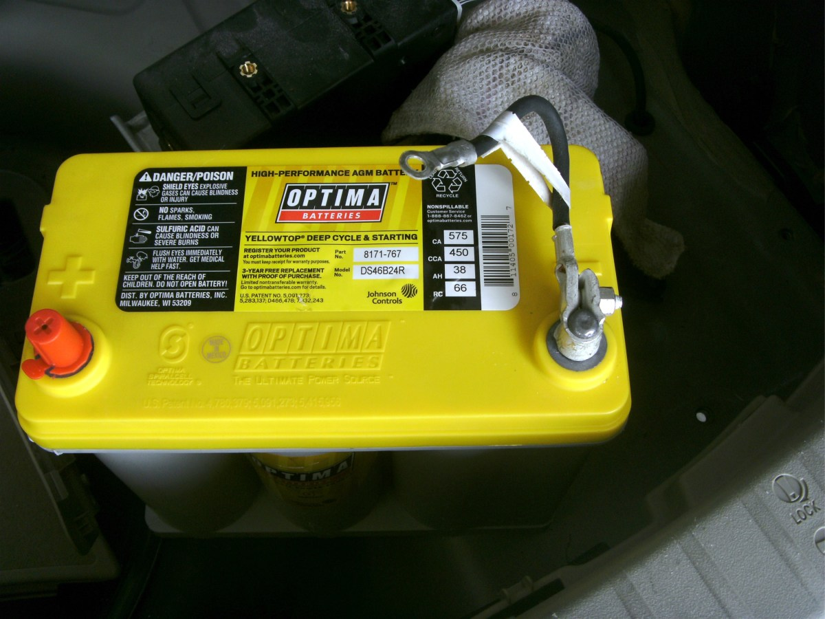 The new battery.  The negative wire is attached and it is ready to set into place.