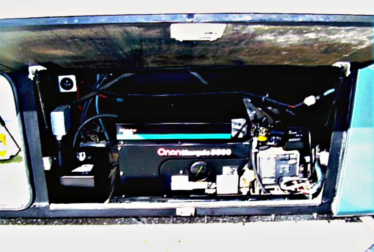Generators like this one create electricity for the coach using gas or diesel fuel for their energy source.