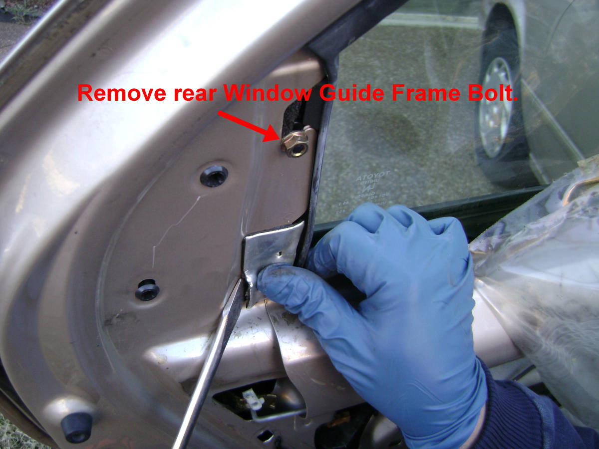 Toyota Camry Rear Door Rear Glass Guide Frame Upper Nut Removal