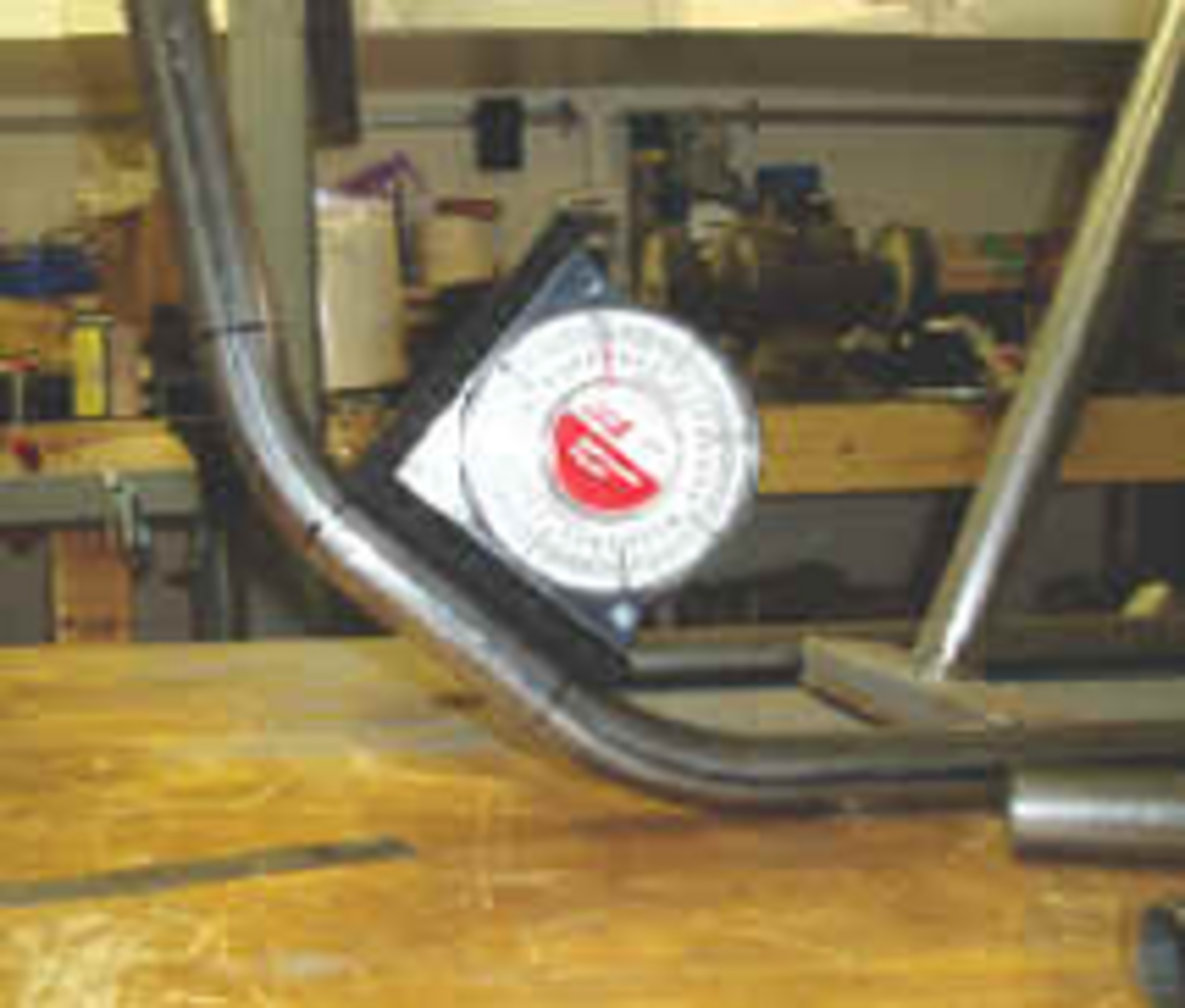 This picture demonstrates the use of the Angle Finder in determining that the geometry of the tubing is as it should be.