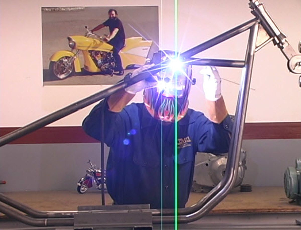 2. Ron Covell tack welding his frame in his video as described in the picture above.
